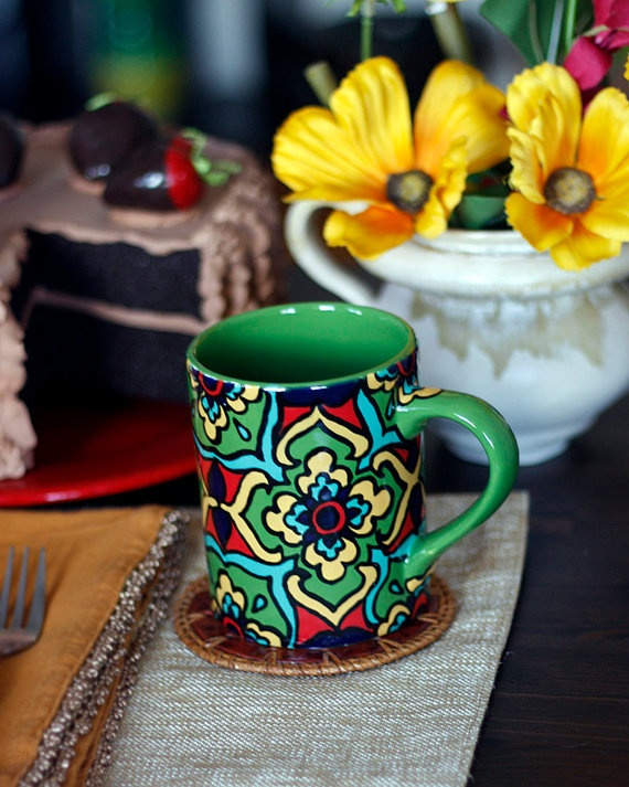 Green Yellw & Teal Talavera Style Mug/Coffee Cup  by TheTikiQueen, $24.95