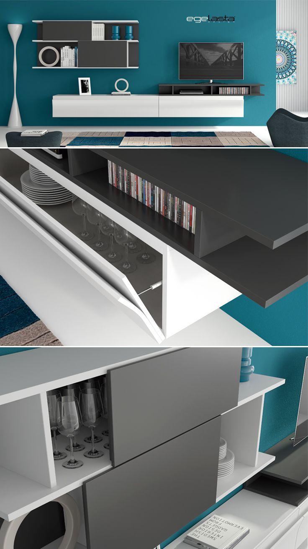 Muebles · egelasta · live · mueble · madera · moderno · comedor · estanterías correderas · laca blanco y antracita