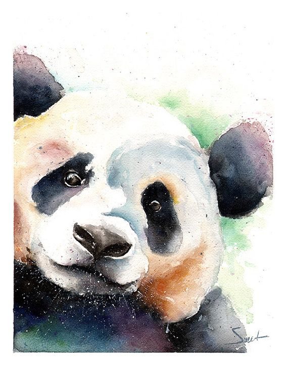 PANDA BEAR PAINTING watercolor panda original by SignedSweet