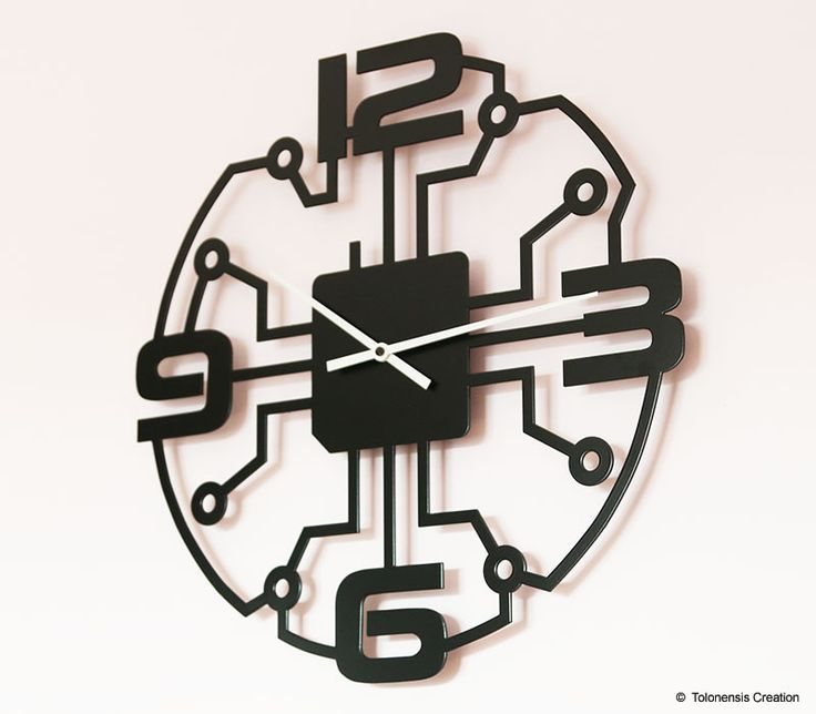 Metal wall clock laser cut. Black matt powder coating painted. Silent Precision quartz movement made in Germany. Design Jacques Lahitte  © Tolonensis Creation  www.tolonensis.com