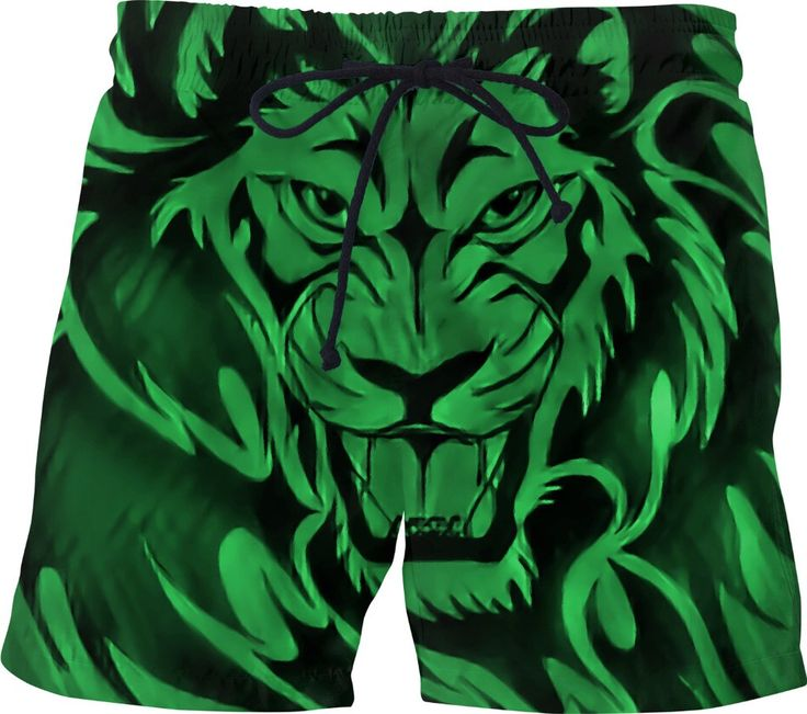 Green and black roaring Lion swim shorts, wild animal themed short pants, tribal tattoo style design, all-over-print clothing - item printed at www.rageon.com/a/users/casemiroarts - also available at www.casemiroarts.com #swimwear #pants #shorts #swim #lion #green #black #tribal