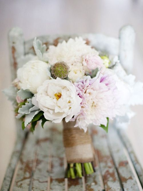Bridesmaids flowers bouquet with burlap and twine
