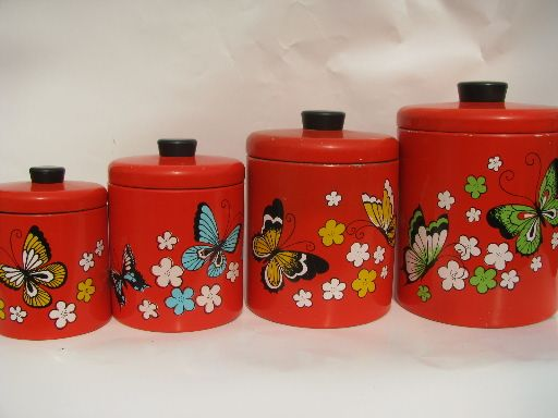 Butterfly Kitchen Canisters Retro Kitchen Canisters Retro Butterflies Ransburg Kitchen Canisters
