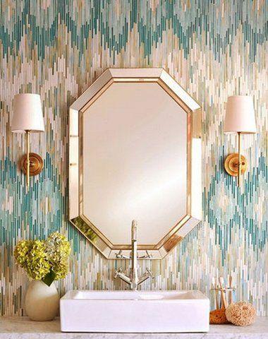 Love the tile. Colors + gold fixtures/decor