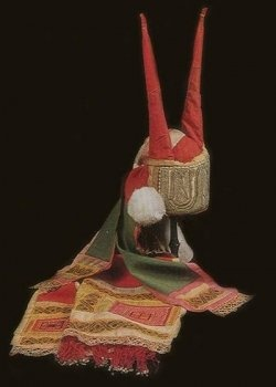 """Russian Kichka Slavic and Balto-Slavic Headdress, for costumed based on """"poneva"""" was a complicated status of ancient women. Elder women had real elk or bull horns, but later replaced by the textile version of the """"kichka"""", the crown is called """"soroka"""", Today we have the Russian Kokoshnik, which is the modern term."""
