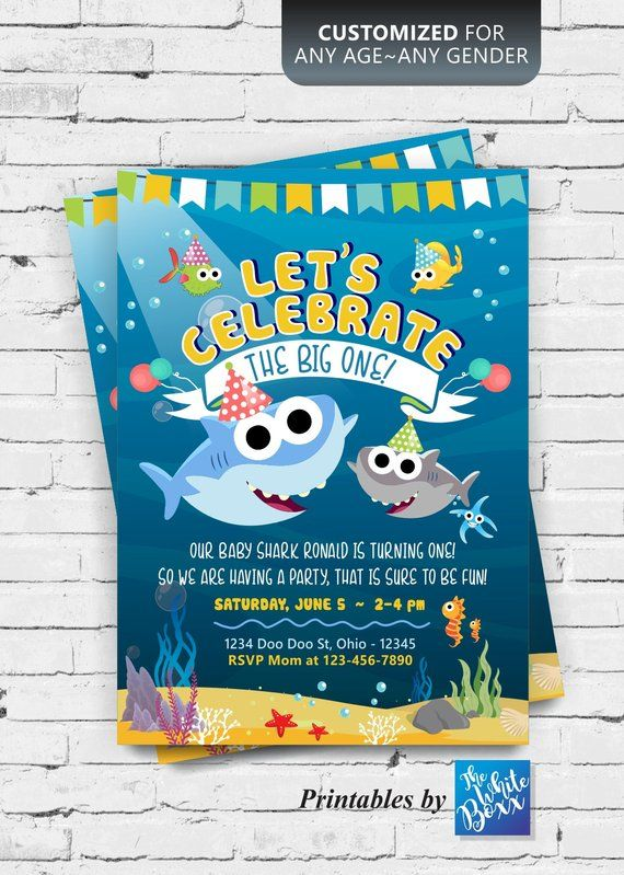 Baby Shark Theme Birthday Invite For Your Boy Girl