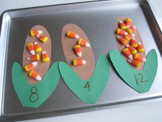 Easy to prep Math Work Station with candy corn.