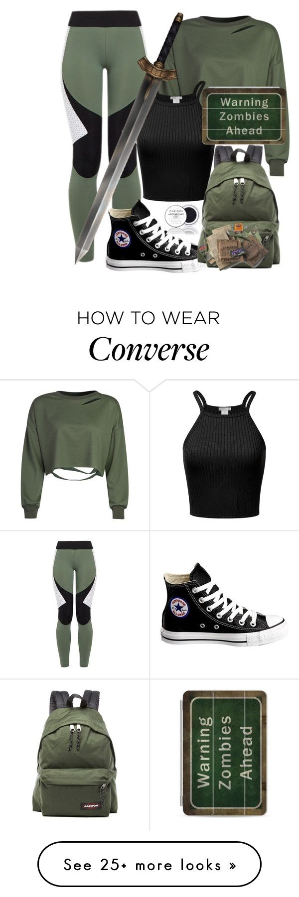 """Zombie Apocalypse Ensemble"" by stephanie-mcclaran on Polyvore featuring Charli Cohen, Converse, WithChic, Casetify and Eastpak"