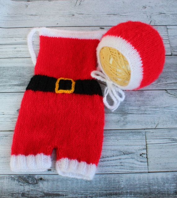CHRISTMAS Knitted Set Santa Claus prop set by SquishyBabyStuff