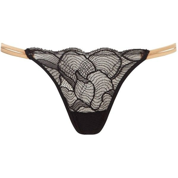 La Perla Black Lace Gold Thong ($69) ❤ liked on Polyvore featuring intimates, panties, black, lace lingerie, balconette bra, sheer lace lingerie, strappy lingerie и shelf bra