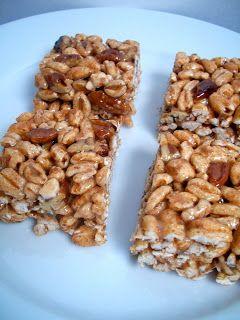 Brooke Bakes : Honey Cinnamon Pecan Puffed Wheat Squares