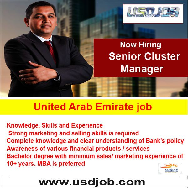 Senior Cluster Manager Jobs In United Arab Emirates Conocimiento