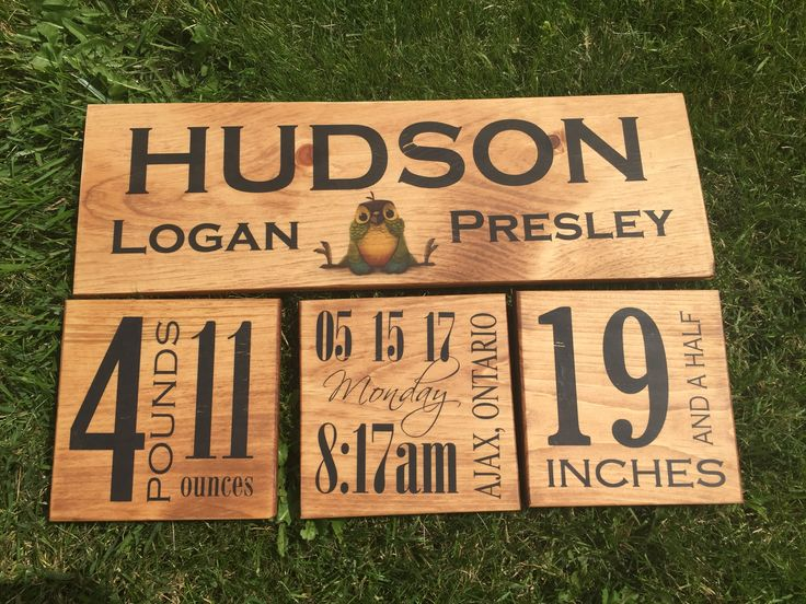Birth announcement sign for Hudson - loving the way the hemlock turned out!