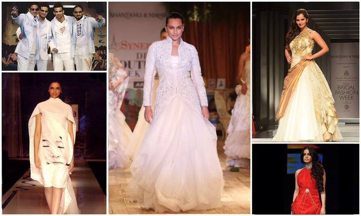 A look-back at the 5 most distinguished #ShantanuNikhil showstoppers: - It was all sporty glamour when young cricketers Harbhajan Singh, Irfan pathan, Zaheer Khan and Mohommad Kaif walked the runway in 2005 - Dia Mirza mesmerized in Tribal Princess in 2008 - Deepika Padukone dazzled her way in the Ladakh collection in 2009 - Sonakshi Sinha looking gorgeous during the Delhi Couture Week in 2011 - Sania Mirza looked absolutely stunning during the Indian Bridal Fashion Week in 2013