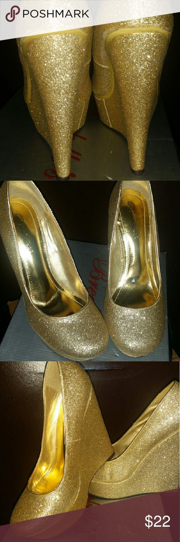 gold wedge heels Brand new  Gorgeous gold wedge sparkly heels Breckelles Shoes Wedges