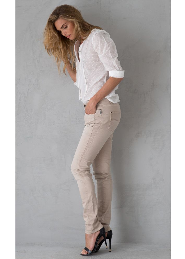 Garcia Jeans sandfarvede M60115 Celia Super Slim Ladies Pants – acorns