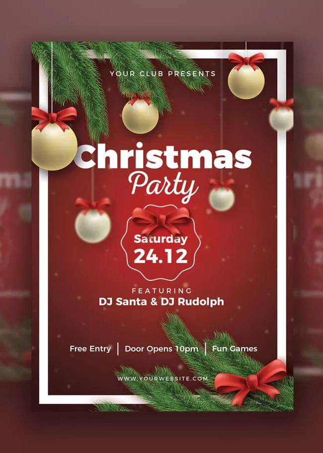 christmas party poster template psd download christmas flyer