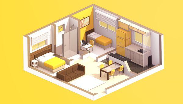 Interior 3D Cartoon by Rodrigo Rc, via Behance