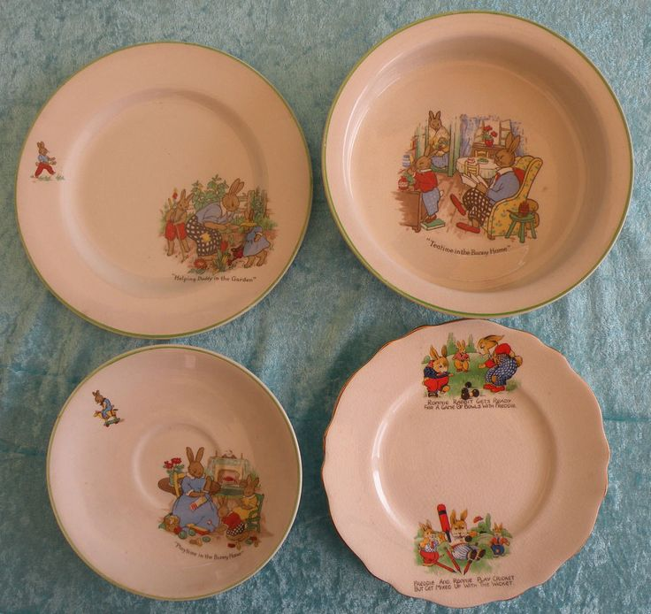 Set of Vintage 'NURSERY WARE - by James Kent / Nelson Ware - 4 Pieces - VGC