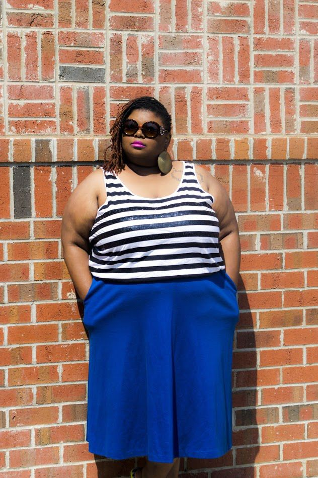 bykStyle | Summer Stripes   3 Items That Show That Fat Girls Can Wear Stripes Too! – The F.A.B. Society. Fat myths. Stripes. Plus size summer style. Locs . Sunglasses.thrifted style.