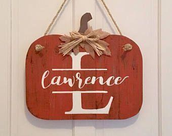 """Monogram Door Hanger // Name Door Hanger // Pumpkin Door Hanger // Fall Door Sign // Fall Decor - 16x17"""""""
