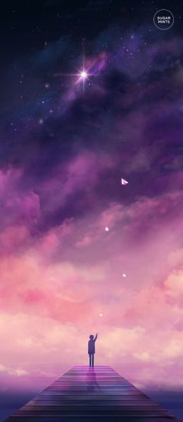 Illustration art night stars night sky scenery original myart artists on tumblr anime scenery Paper Airplanes sugarmints