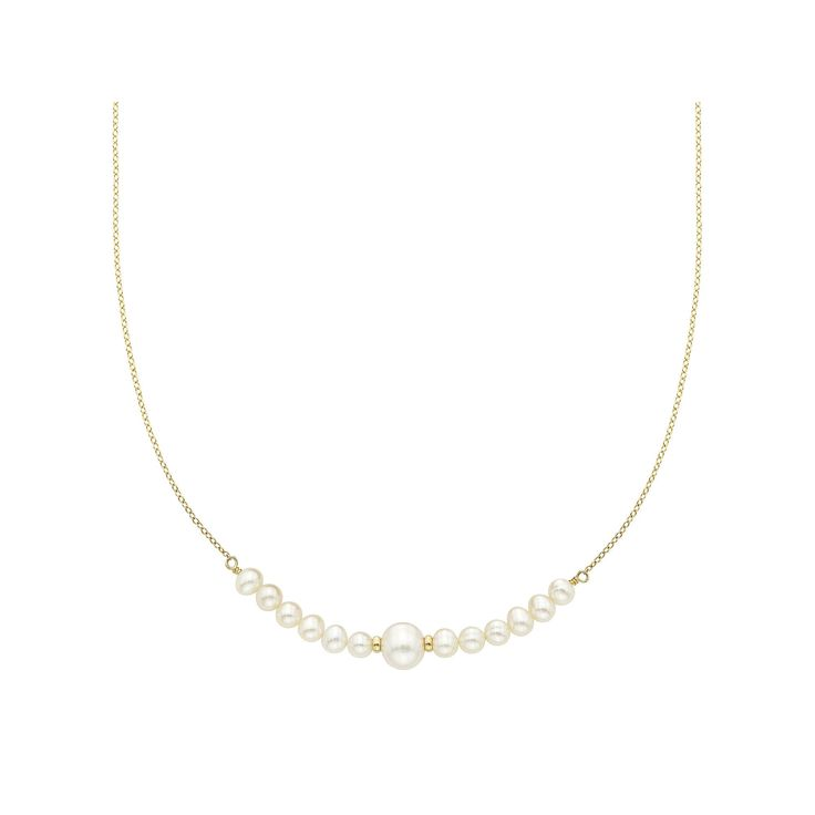 """14k Gold Freshwater Cultured Pearl Beaded Necklace, Women's, Size: 18"""", White"""