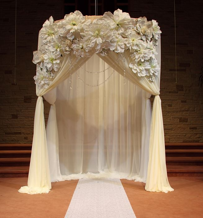 Wedding Altar Decorations For Outside: Wedding Ceremony Draped Arch Decorations