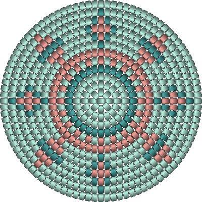 bodem voor bij zijkant met poezen, de bodem heeft 98 steken , het poezen patroontje kan er 4 x op.