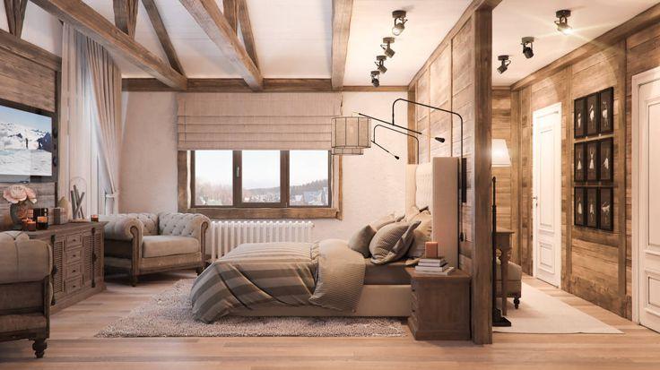 Спальная в стиле шале : Schlafzimmer im Landhausstil von Шабалин Александр