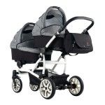 Bebetto 42 Tandem Pram   2 Carrycots LJ white 195 grey