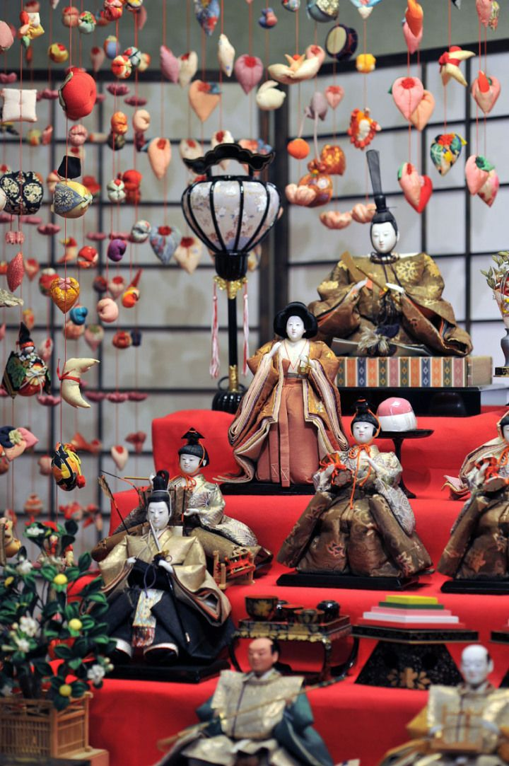 "Hina ningyo, court or ""princess"" dolls, for Girls' Day festival."