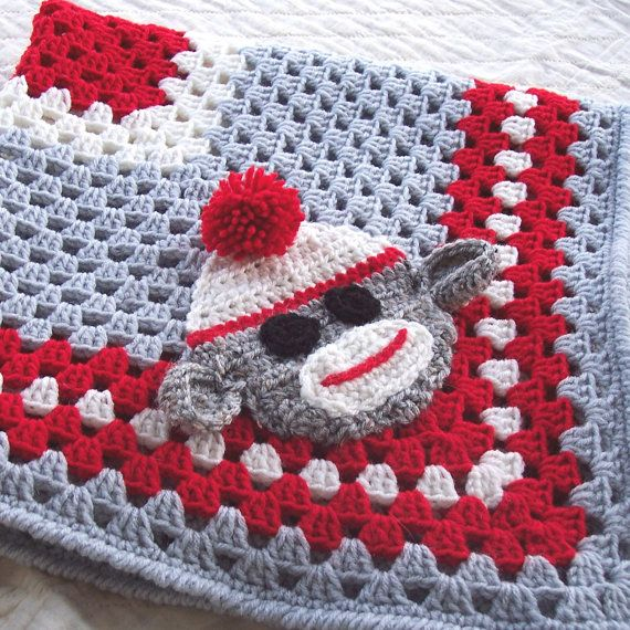 Sock Monkey Granny Square Blanket  - Red and Gray Crochet Baby Blanket / Afghan with Sock Monkey Applique - 32 x 32 Size