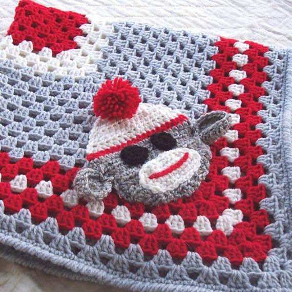 Sock Monkey Granny Square Blanket @LizaSmith