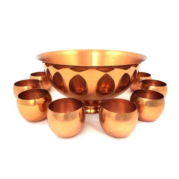 Hey, I found this really awesome Etsy listing at https://www.etsy.com/listing/203818969/vintage-copper-punch-bowl-set-with-8