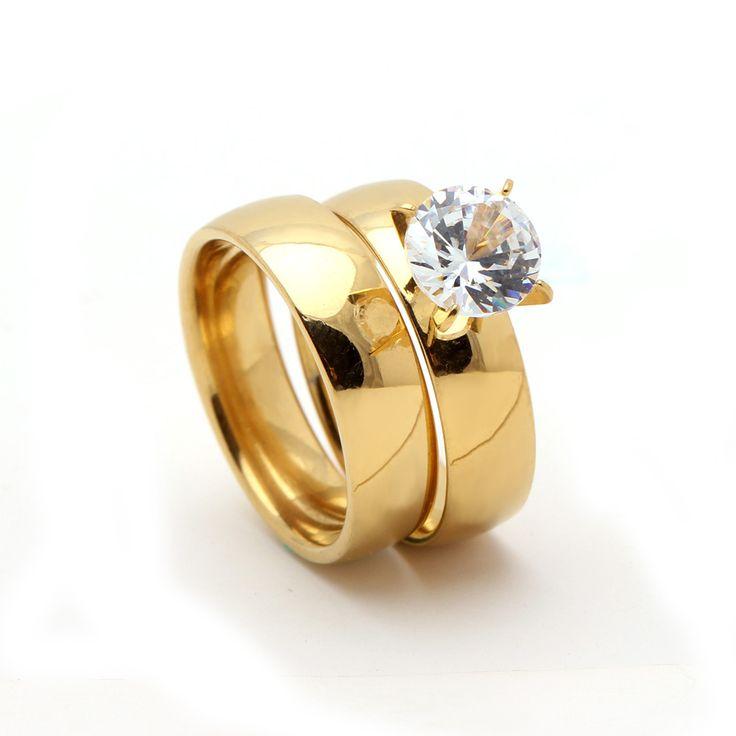 Nuevo color oro blanco 8mm zircon del acero inoxidable de aniversario de boda anillos de joyería de las mujeres