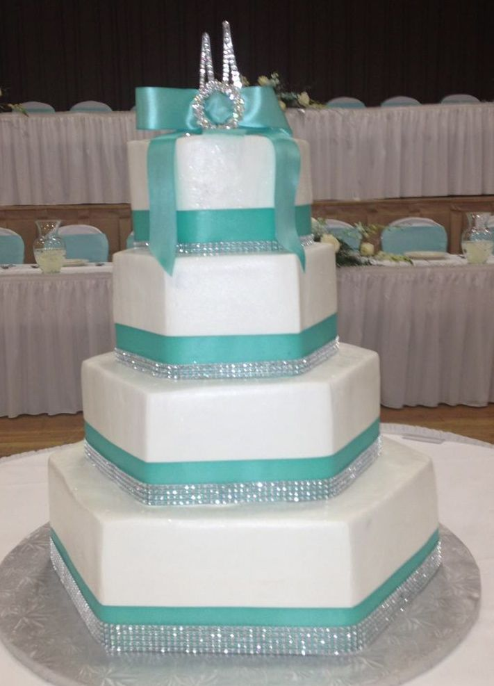 Calumet Bakery  Hexagon shaped wedding cake
