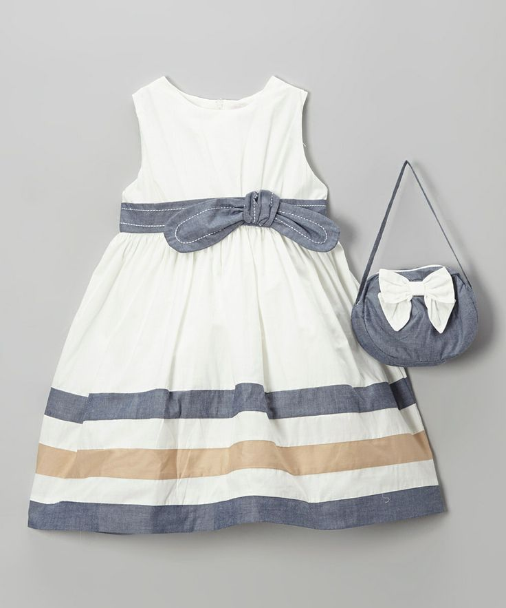 Ivory & Blue Bow A-Line Dress & Purse