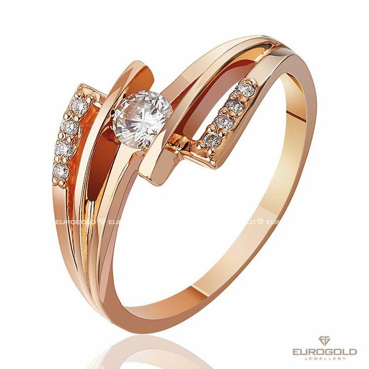 """Золотое кольцо """"Волшебная ночь"""" с бриллиантами  Металл: золото Цвет металла: красный Пол: женский Вес: 2.86 гр Камень: бриллиант Страна: Украина"""