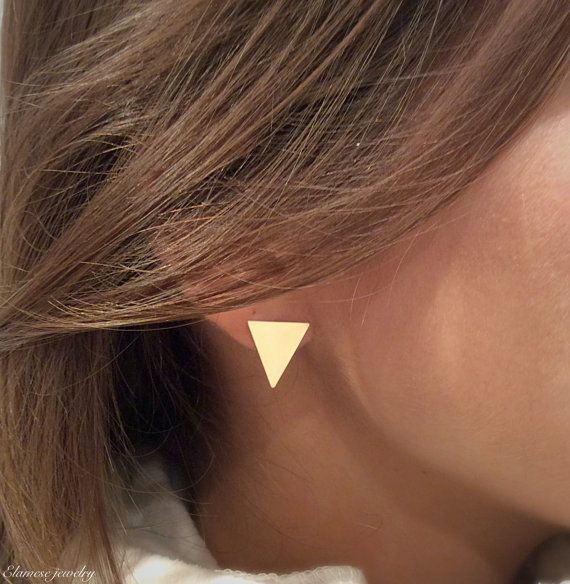 cool Stud Earrings, Minimalist Stud Earrings , Geometric Gold Earrings , Triangle Earrings , Gold Triangle Stud , Geometric Earrings