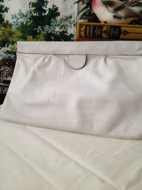 Pochette en cuir sac à main blanc Vintage en cuir blanc embrayage Phillippe grande pochette Vintage en cuir à la main sac sac à main blanc blanc sac des années 1980
