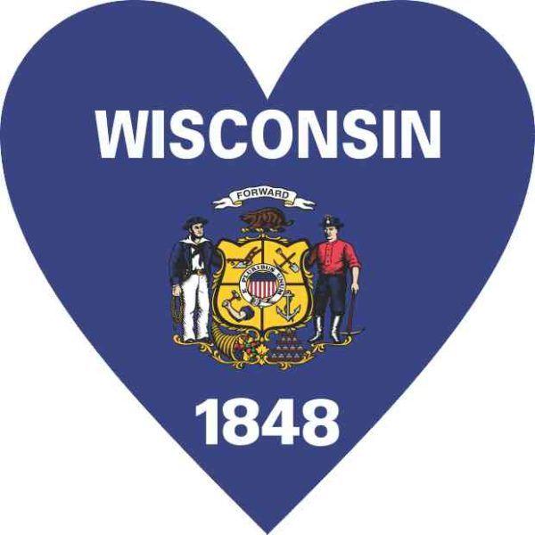 Wisconsin Flag Heart Sticker