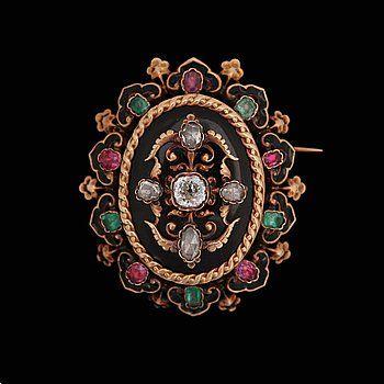 HÄNGE / BROSCH, gammal- och rosenslipade diamanter, tot ca 0.60 ct, med smaragder, rubiner. Frankrike, 1800-tal.