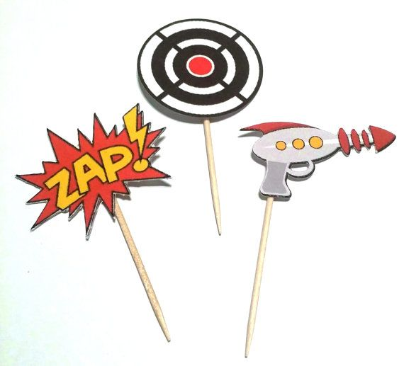 Laser Tag Theme Cupcake Toppers - 12 count