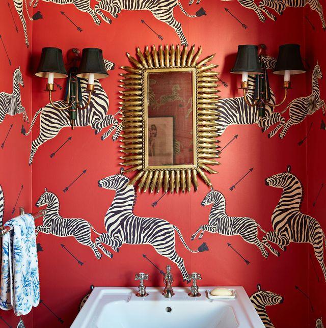 Pin On Scalamandre Fabrics Red and zebra bathroom decor