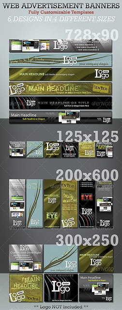 Different Sizes and Shapes For Advertisements  Web Banner Ads - Photoshop...    http://www.publicityclerks.com/
