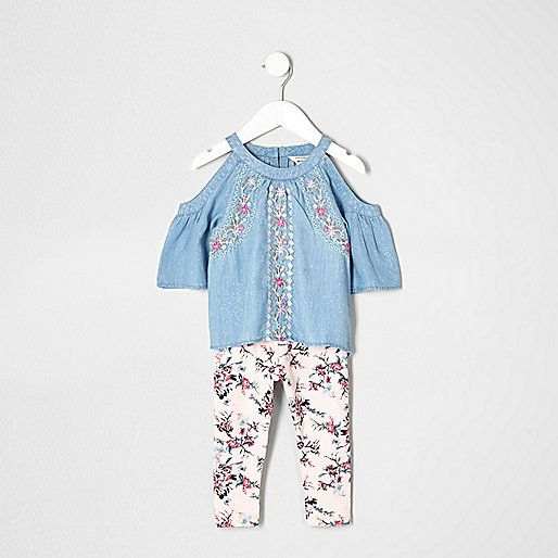 Two piece set Denim cold shoulder top Three quarter sleeve Floral embroidery Floral print leggings Elasticated waist