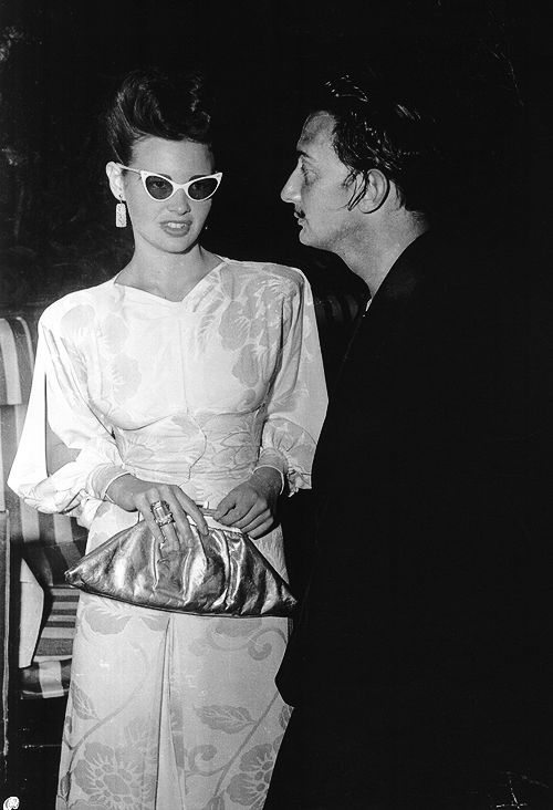 Gloria Vanderbilt with Salvador Dali at his Night in a Surrealist Forest Ball