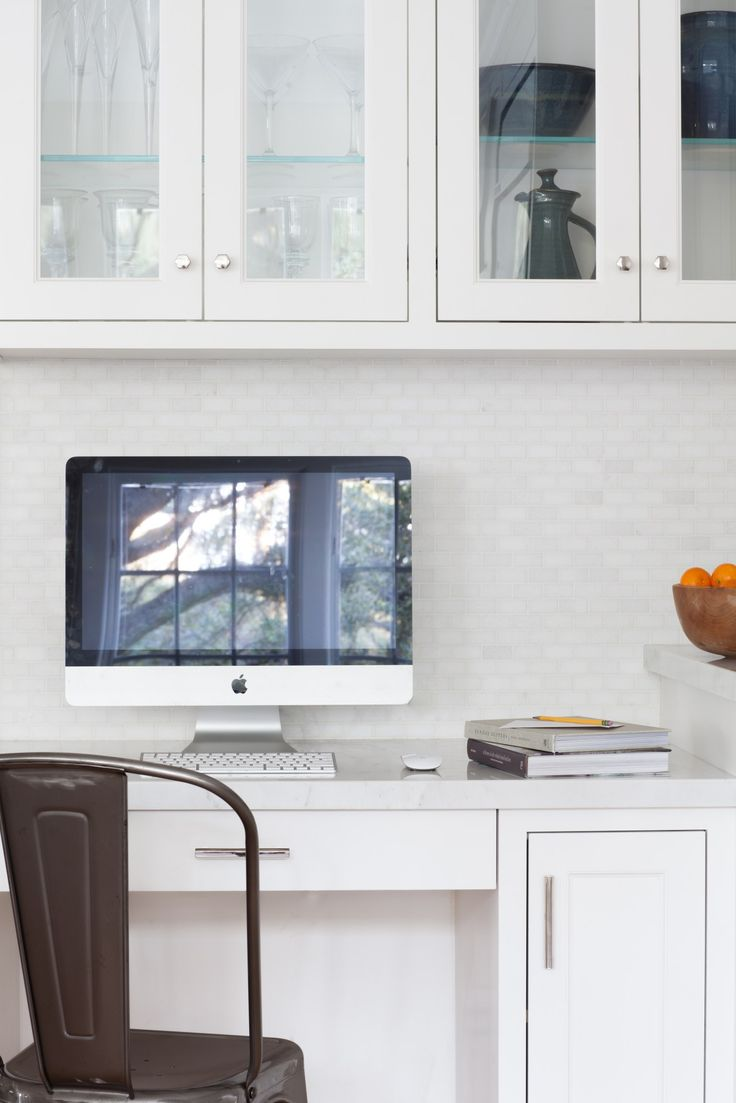 built in white kitchen desk with glass door cabinets megan bachmann interiors