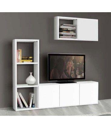 #porta tv in #legno #bianco frassinato, con possibilità di personalizzazione grazie all'aggiunta di antine oppure cubi sospesi